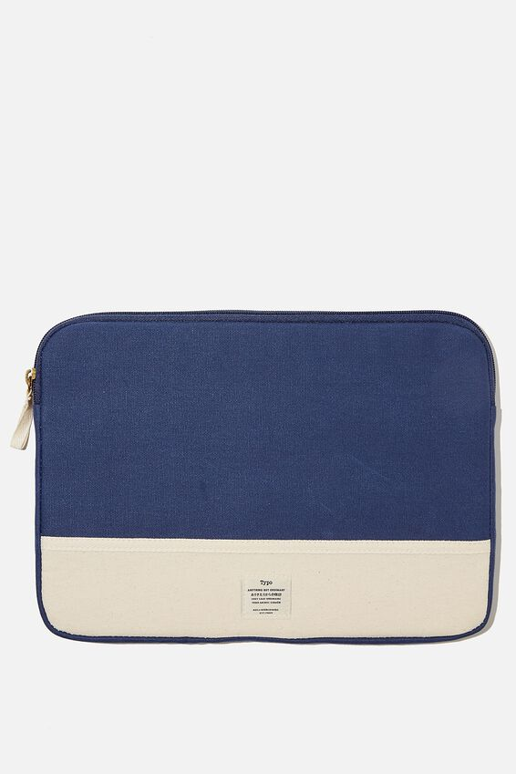 Canvas 13 Inch Laptop Case, RG NAVY WITH RAW CANVAS SPLICE