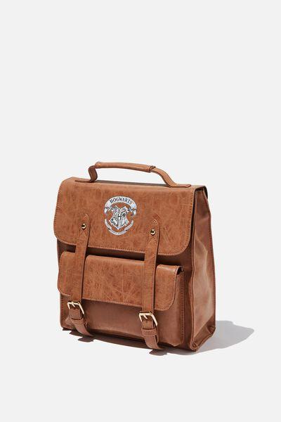 Buffalo Satchel Backpack, LCN WB MID TAN HARRY POTTER EMBLEM