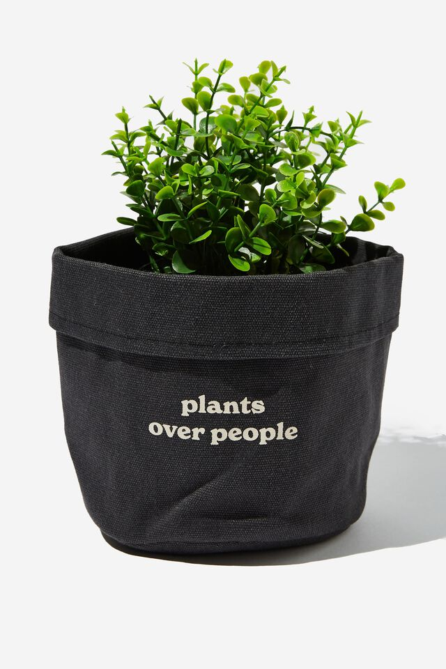 Canvas Planters, PLANTS OVER PEOPLE COOL GREY CANVAS