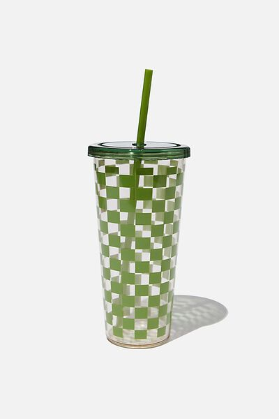 Sipper Smoothie Cup, HUNTER GREEN CHECKERBOARD