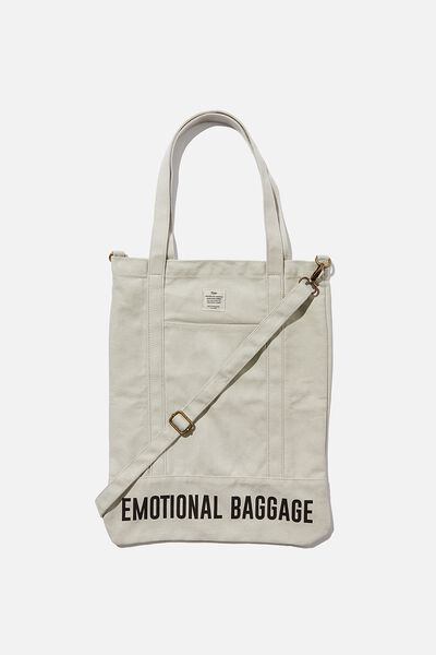 Book Tote Bag, LIGHT GREY EMOTIONAL BAGGAGE