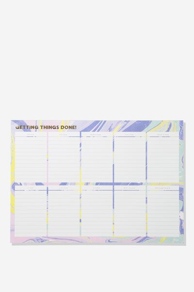 A3 Plan Ahead Planner, PASTEL MARBLE
