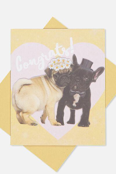 premium wedding card congrats pugs - Engagement Cards