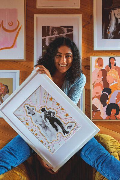 A3 Framed Print, LCN ICO TERRY ONEILL MAN & DOG