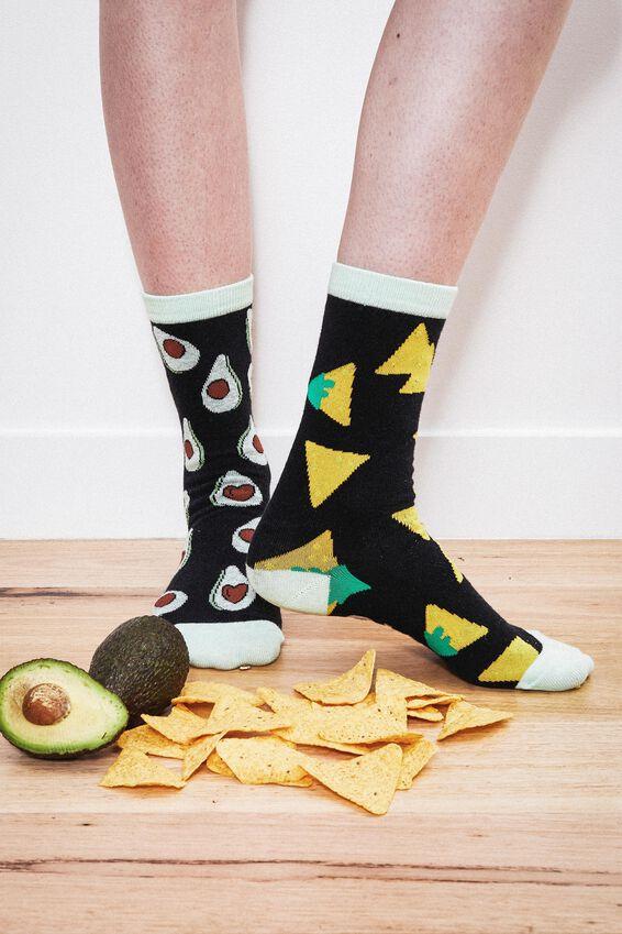 Womens Novelty Socks, GUAC AND CORN CHIPS