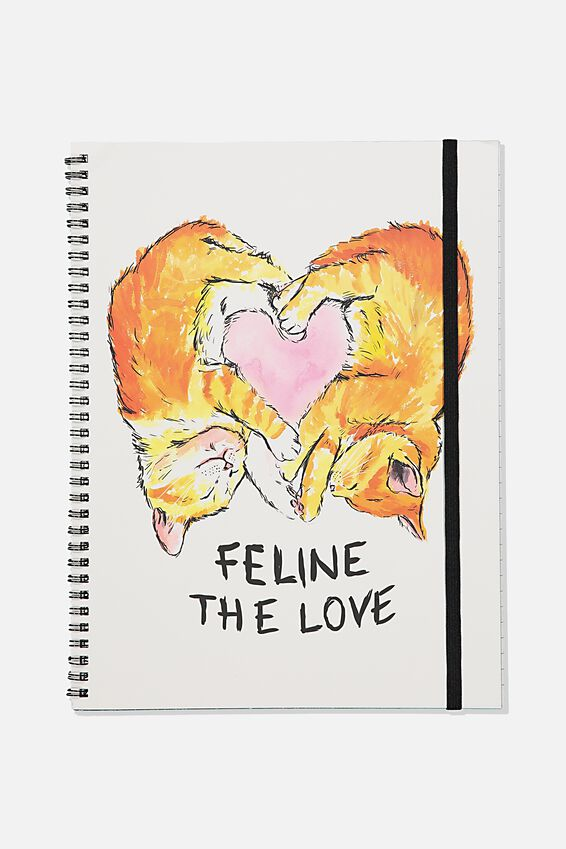 A4 Spinout Notebook Recycled, TBAR FELINE THE LOVE