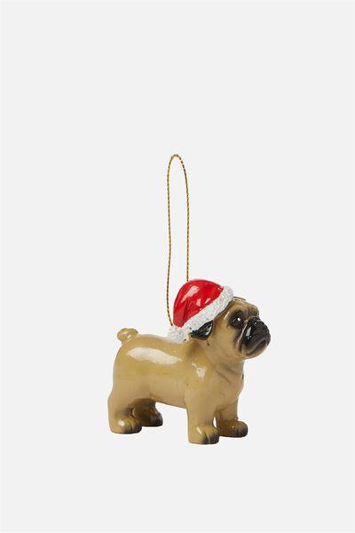 Christmas Ornament, SANTA PARTY PUG