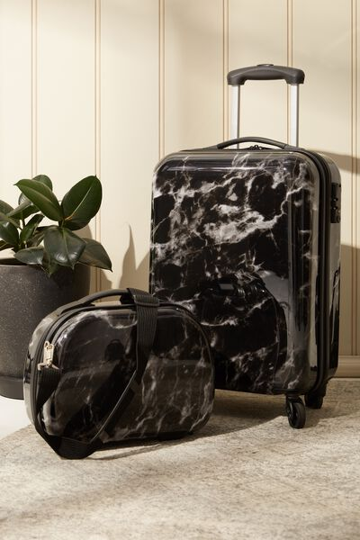 Vanity Cosmetic Case, BLACK MARBLE