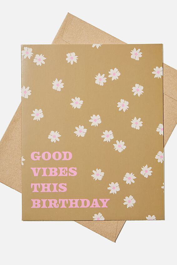 Nice Birthday Card, GOOD VIBES THIS BIRTHDAY KHAKI DAISY