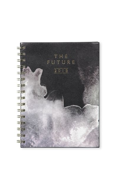 2018 Soft Cover Diary, BLACK & WHITE SMOKE