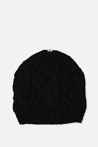 Personalised Beanie, BLACK CABLE KNIT