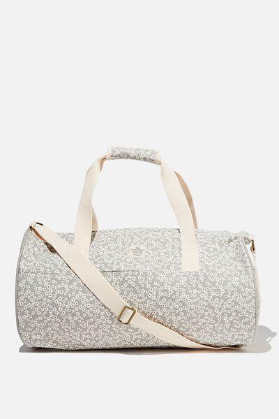 Canvas Barrel Bag, CHERRY BLOSSOM COOL GREY