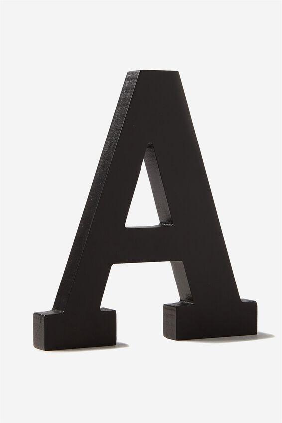Letterpress Wooden Letter, BLACK A