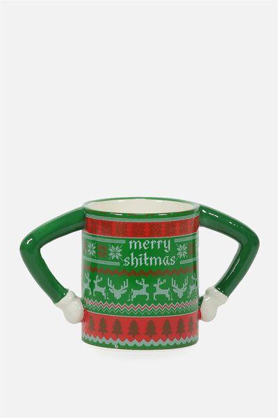 Novelty Shaped Mug, MERRY SHITMAS!