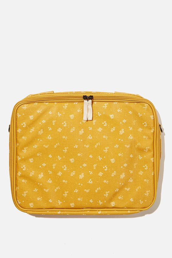 Mobile Desk 13 Inch Coated Cvs, DOTTIE FLORAL MUSTARD & OVERSIZED POLKA