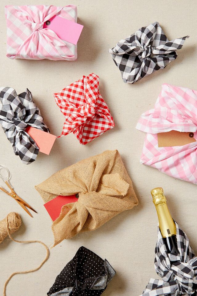 Fabric Wrapping Pack Medium 2Pk, RED SMALL GINGHAM