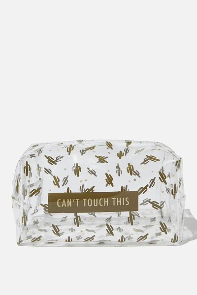 Made Up Cosmetic Bag, CACTUS ON CLEAR