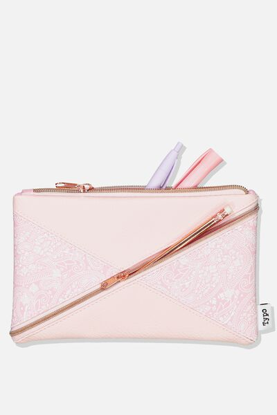 Quad Pencil Case, BLUSH LACE