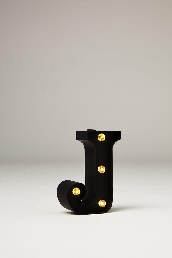 Mini Marquee Letter Lights 10cm, BLACK RUBBER J