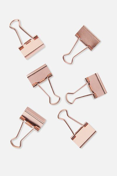 Bulldog Clip Pk 6, ROSE GOLD