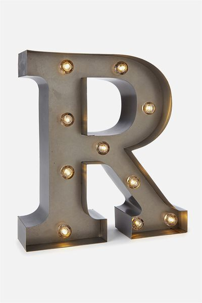 Small Letter Marquee Light, SILVER R
