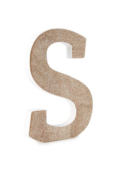 Glitter Letterpress Letter, PALE GOLD GLITTER S