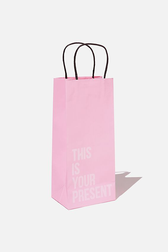 Bottle Gift Bag, PLASTIC PINK THIS IS YOUR PRESENT