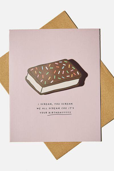 Premium Funny Birthday Card, I SCREAM YOU SCREAM BOBBLE