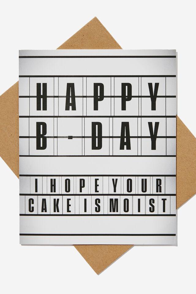 Funny Birthday Card, CAKE IS MOIST LIGHTBOX