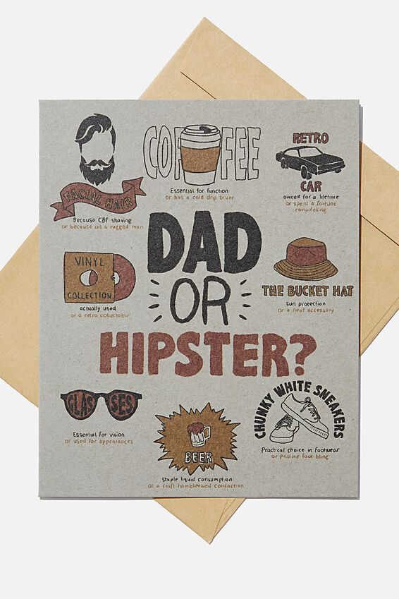 Fathers Day Card 2020, DAD OR HIPSTER!