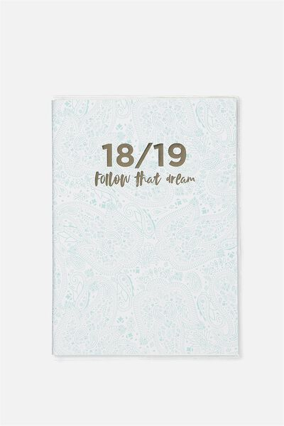 2018 19 A5 Pvc Diary, BLUE LACE