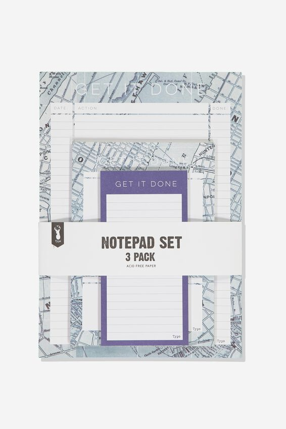Notepad 3Pk, BLUE MAP GRID