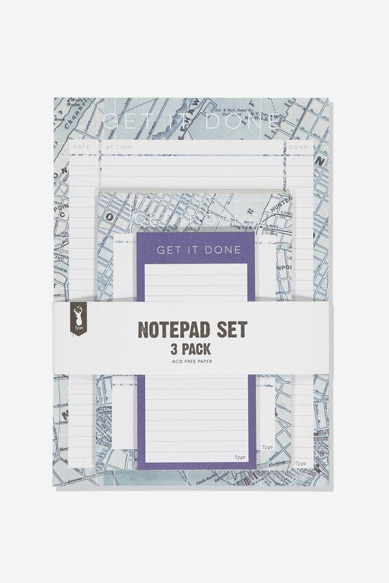 Notepad 3Pk, BLUE MAP GRID