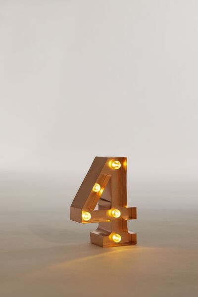 "Mini Marquee Letter Lights 3.9"", ROSE GOLD NUMBER 4"