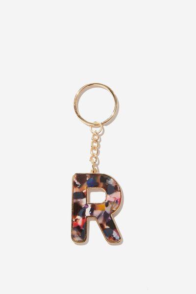 Alphabet Keyring, RAINBOW ACRYLIC R