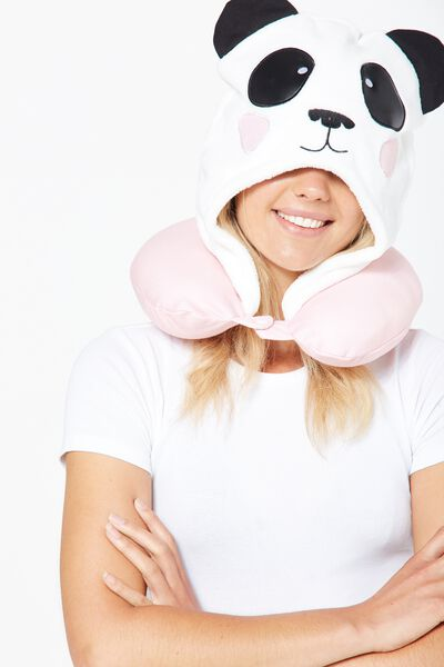 Hooded Travel Neck Pillow, NOVELTY PANDA