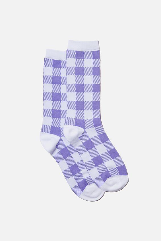 Socks, PALE LILAC GINGHAM
