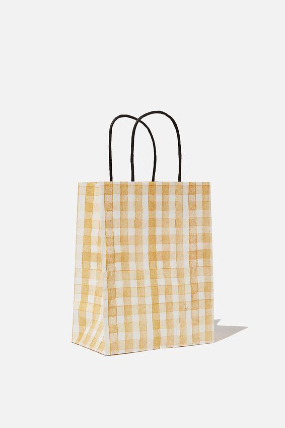 Get Stuffed Gift Bag - Small, MUSTARD GINGHAM