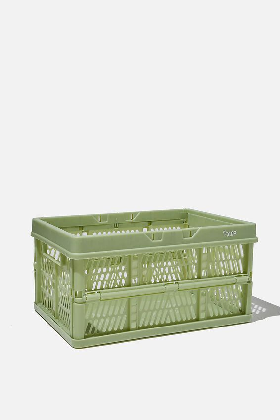 Midi Foldable Storage Crate, ALLY GREEN