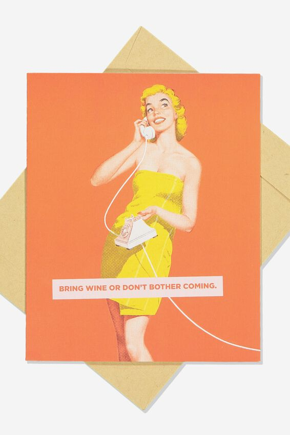 Funny Birthday Card, RETRO BRING WINE