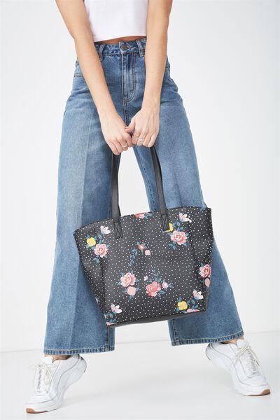 Premium Beach Tote Bag, DOTTY FLORAL