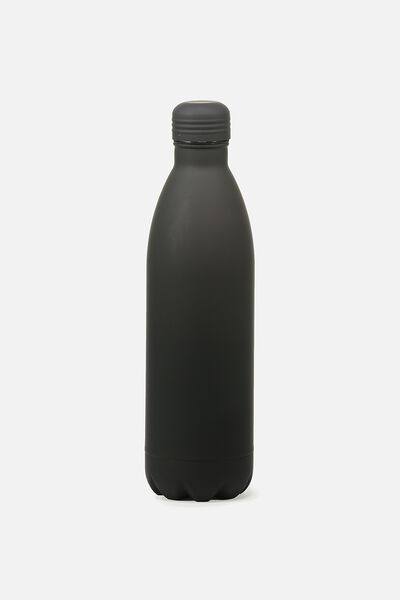 1L Metal Drink Bottle, RUBBER BLACK
