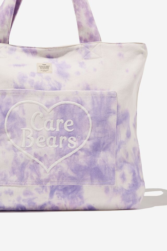 Care Bears Exclusive Daily Tote, LCN CLC CAREBEARS LILAC TIE DYE
