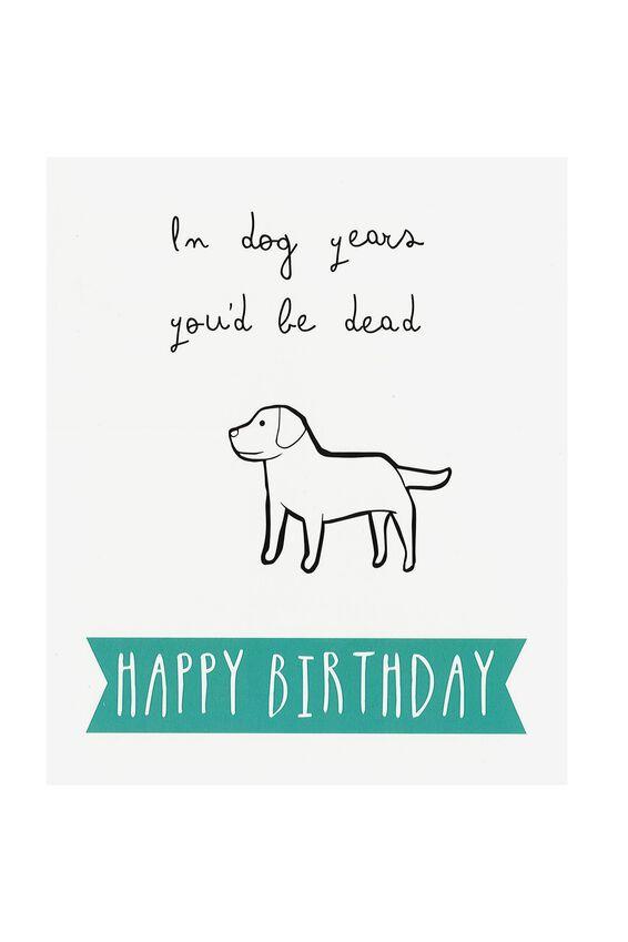 Funny Birthday Card, DOG YEARS!