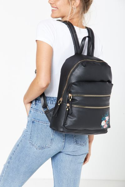 Berlin Backpack, BLACK & FLORAL PATCHES