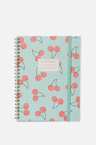 A5 Spinout Notebook - 120 Pages, CHERRIES