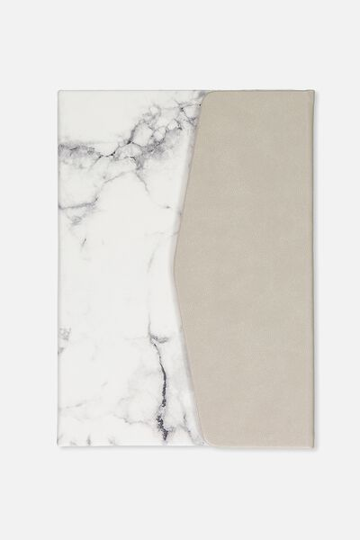 A5 Magnetic Close Journal, WHITE MARBLE