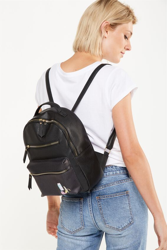 Mini Backpack, BLACK WITH PATCHES