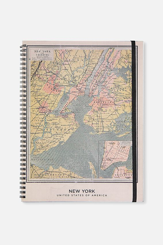 A4 Spinout Notebook Grid Page, NY VINTAGE MAP