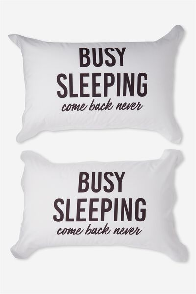 Standard Pillow Case Set, BUSY SLEEPING